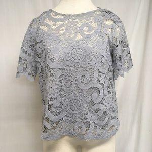 Nanette Lapore Lace  Short Sleeve Blouse